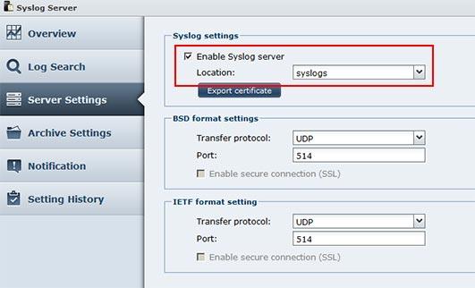 enable sylog server