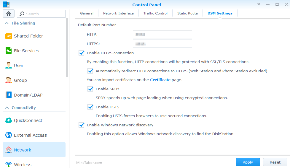 synology control panel enable https