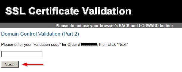 validation confirmation