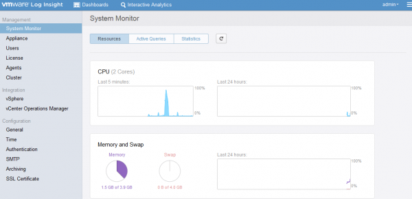 VMware Log Insight dashboard
