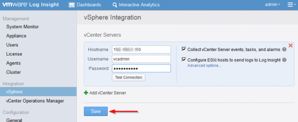 vmware log insight step11