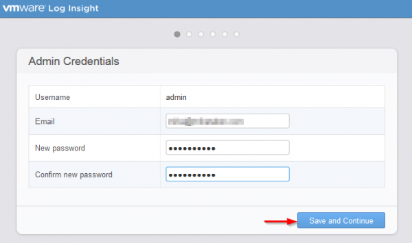 vmware log insight step3