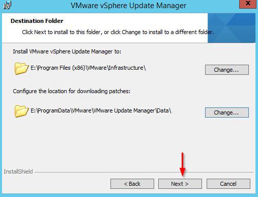 Installing vSphere Update Manager step 10