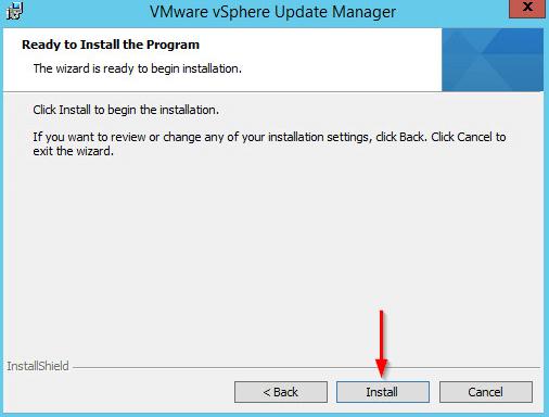 Installing vSphere Update Manager step 11