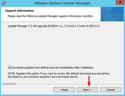 Installing vSphere Update Manager step 4