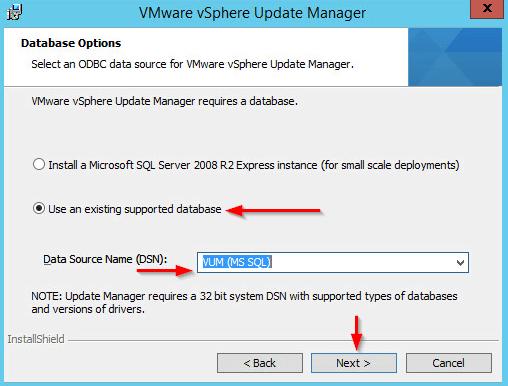 Installing vSphere Update Manager step 6