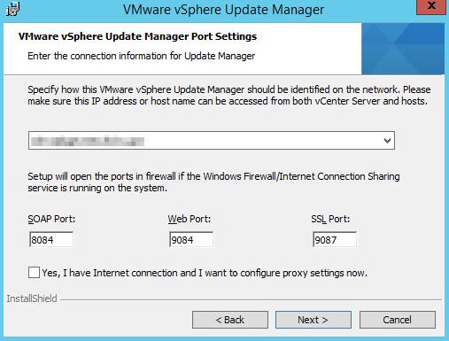 Installing vSphere Update Manager step 8