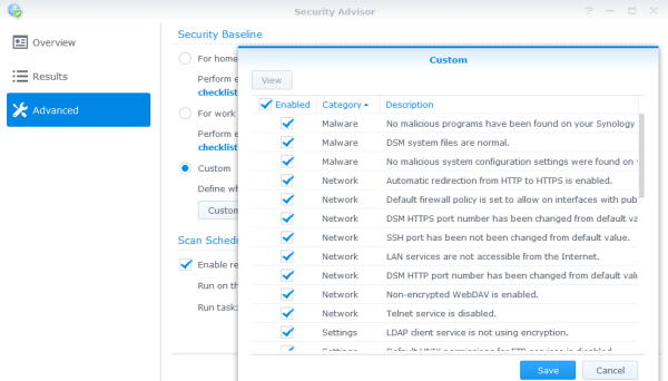 Synology security advisor custom