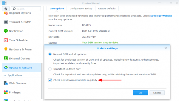 Synology auto update