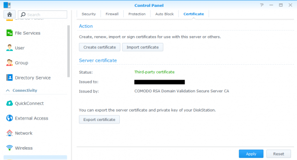 Synology ssl certificate