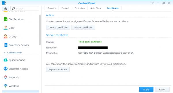 Synology ssl certificate