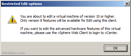 edit virtual hardware 10