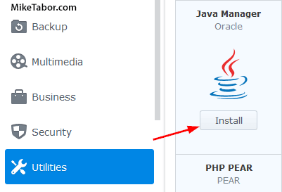 Java Manager synology package