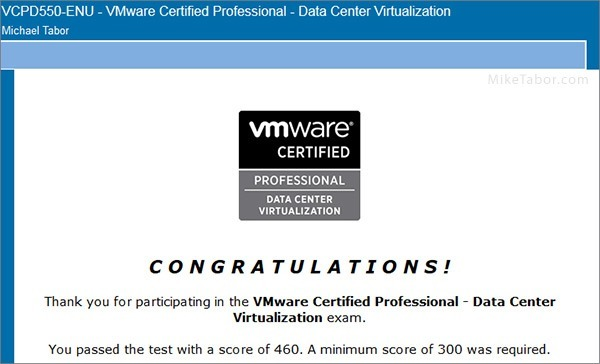 VMware delta exam passed