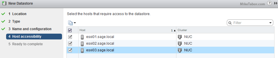 vmware datastore host accessibility