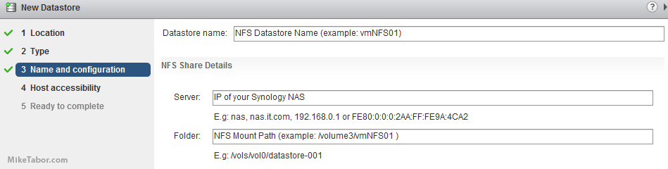 vmware nfs name config