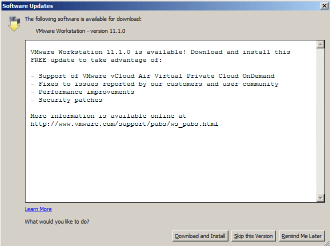 vmware workstation 11.1.0 update