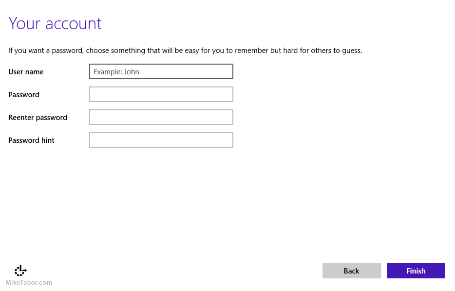 Windows 10, create local account