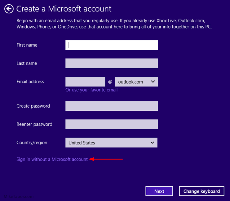 Windows 10, sign in without a microsoft account