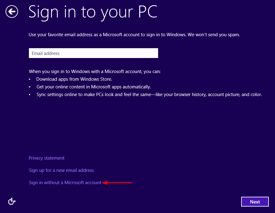 Install Windows 8 without using a Microsoft account