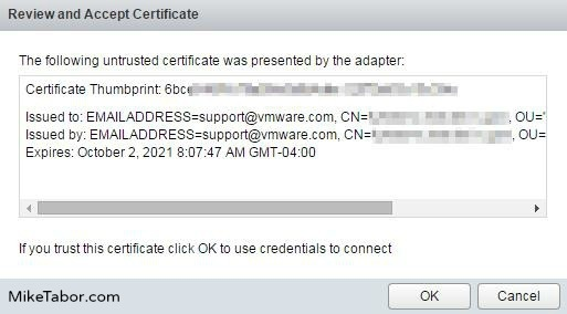 vrealize operations manager configure add accept certificate