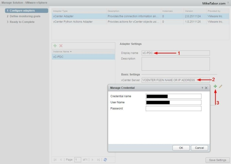 vrealize operations manager configure add credentials