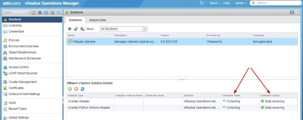 vrealize operations manager configure collecting
