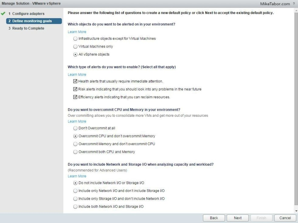 vrealize operations manager configure monitoring goals