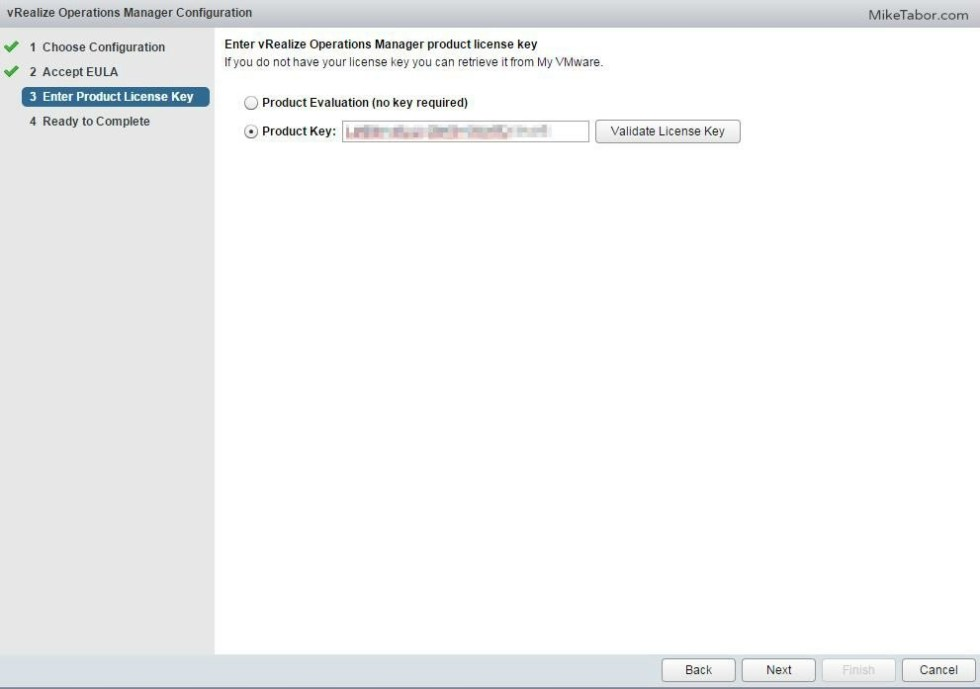 vrealize operations manager configure product key
