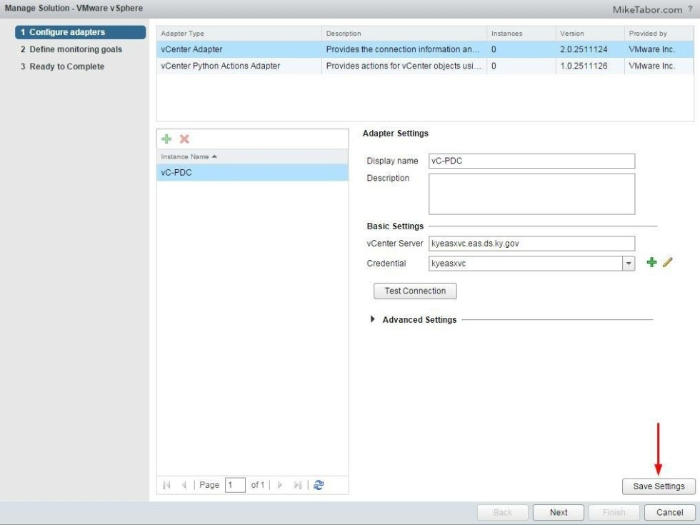 vrealize operations manager configure save settings