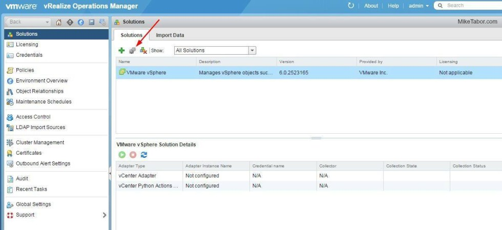vrealize operations manager configure vsphere