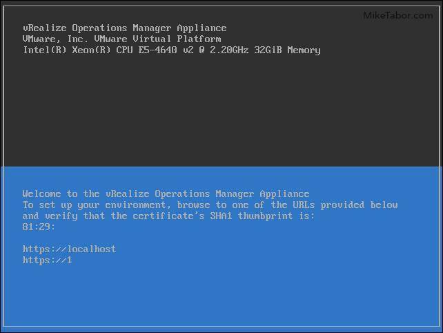 vrealize operations manager console