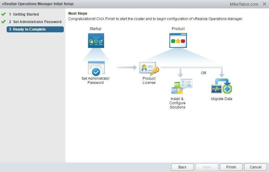 vrealize operations manager finish inital setup