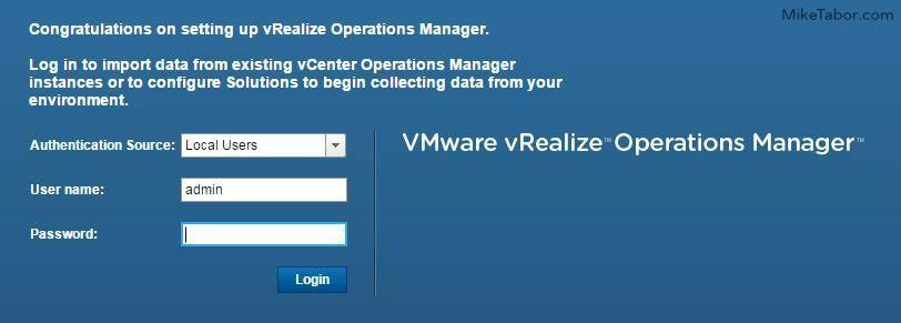 vrealize operations manager first login