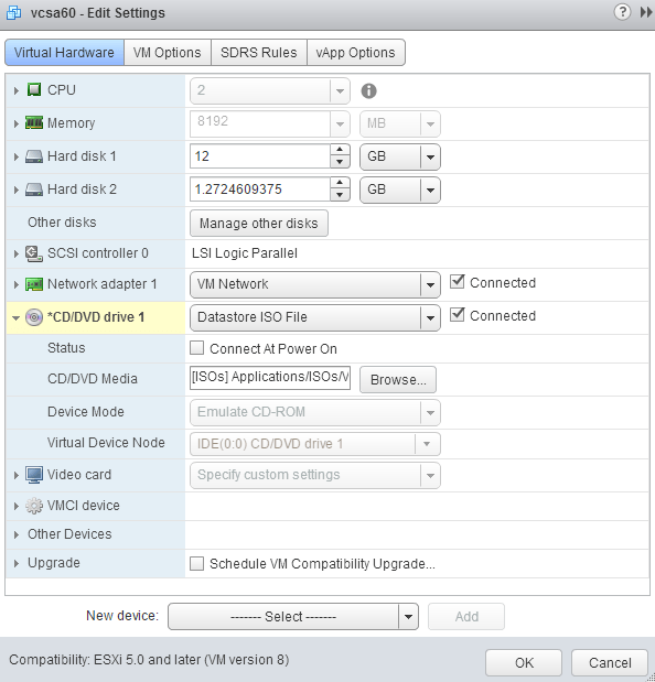 VMware vCSA mount ISO