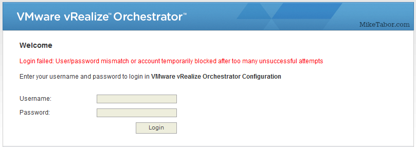 vrealize orchestrator account locked out