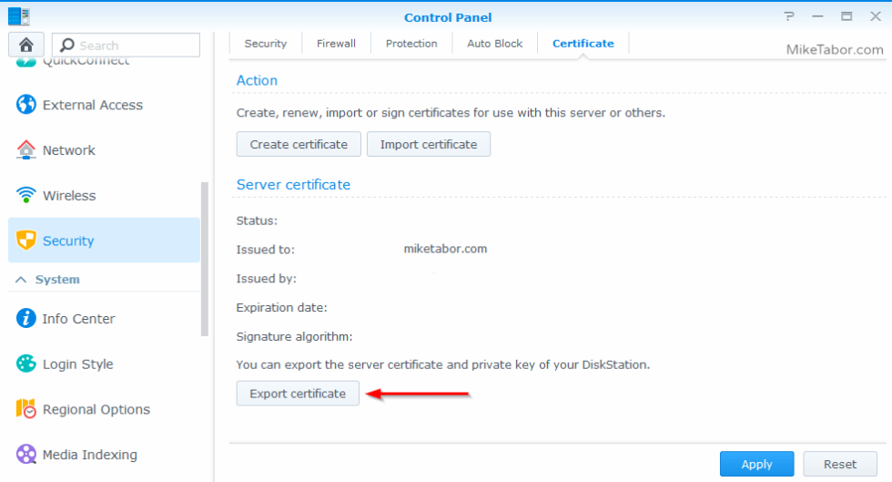 export synology certificate