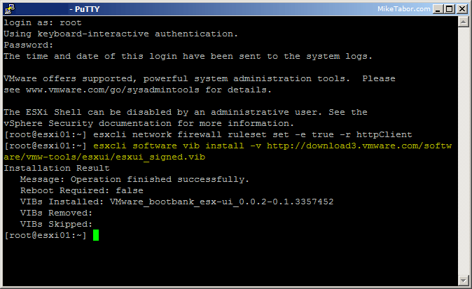esxi embedded host client install