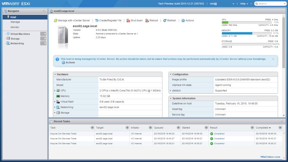VMware ESXi host client fling