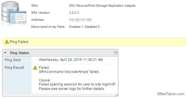 Recoverpoint SRA command discoverArrays failed