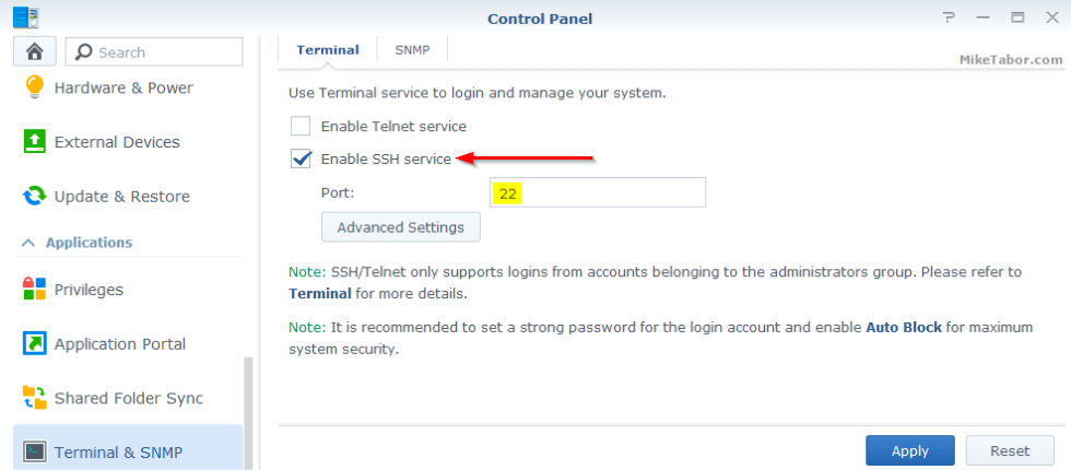 Enable SSH on Synology