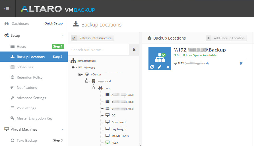 Altaro backup location add vm