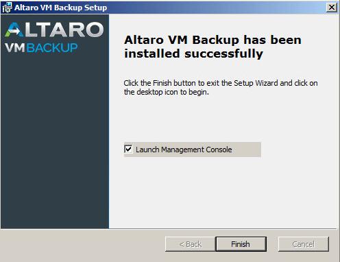 Altaro install complete
