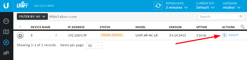 Adopt access point on UniFi controller