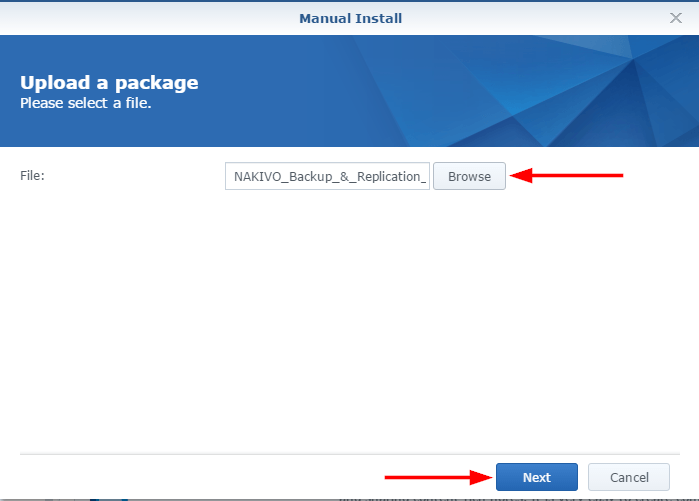 nakivo synology manual install upload package