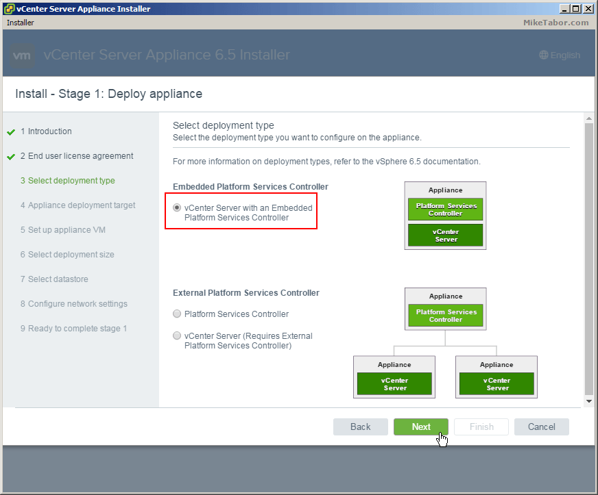 vcsa 6.5 install deployment type