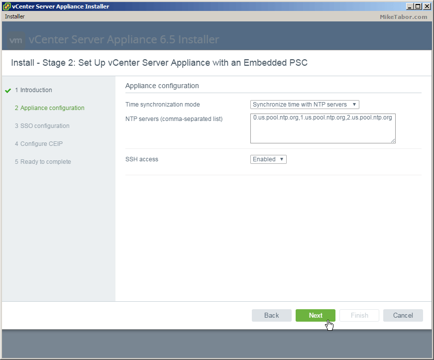vcsa 6.5 stage2 appliance config