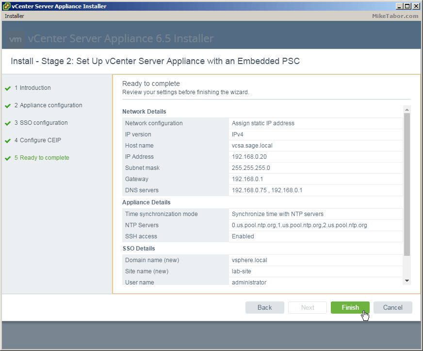 vcsa 6.5 stage2 ready complete
