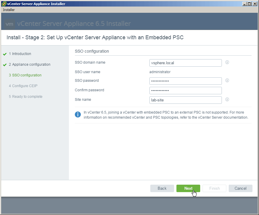 vcsa 6.5 stage2 sso config