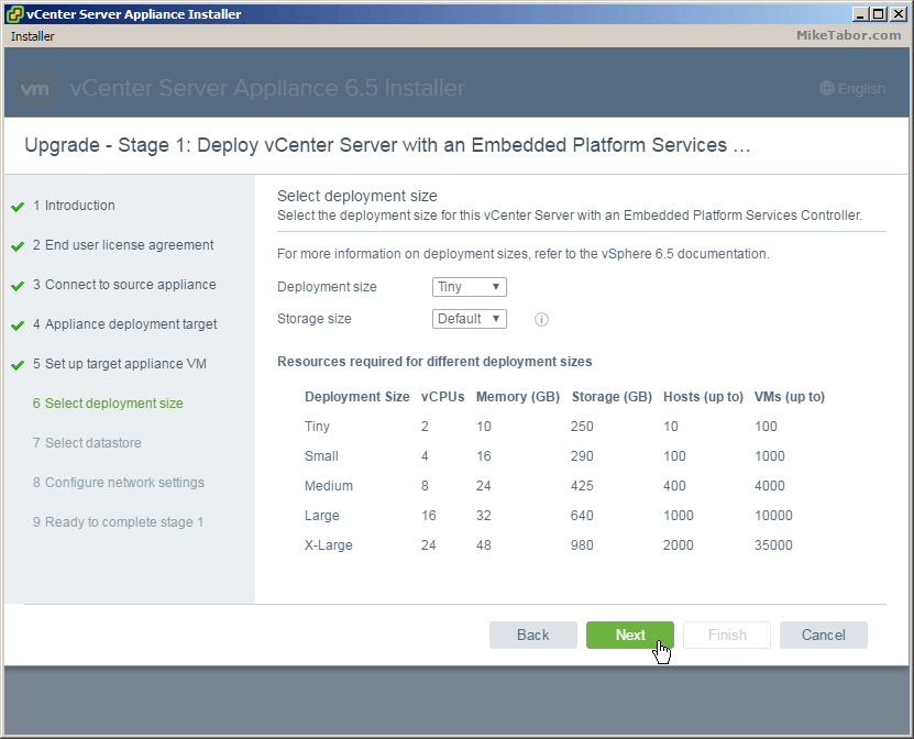 vcsa 6.5 upgrade deployment size